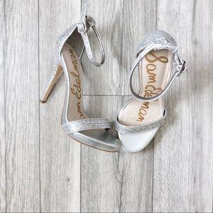 SAM EDELMAN Sparkle Silver Heels 6